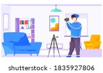 the guy standing and adjusting... | Shutterstock .eps vector #1835927806