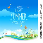 Summer Card With Blue Sky And...