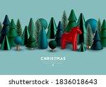 christmas border with christmas ... | Shutterstock .eps vector #1836018643