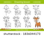 how to draw a deer. step by... | Shutterstock .eps vector #1836044173