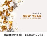 happy new year 2021. golden... | Shutterstock .eps vector #1836047293