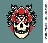 Skull Rose Tattoo Vector Design