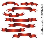 set of vector ribbons and... | Shutterstock .eps vector #183607070