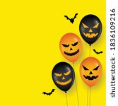 scary balloon and bats on happy ... | Shutterstock .eps vector #1836109216