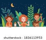 cute kids in carnival costumes. ... | Shutterstock .eps vector #1836113953
