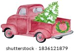 Watercolor Pink Tree Truck. Red ...