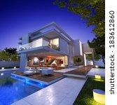 external view of a contemporary ...   Shutterstock . vector #183612860