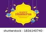 happy dhanteras gold coin in... | Shutterstock .eps vector #1836140740