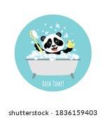 little cheerful panda bathes in ... | Shutterstock .eps vector #1836159403