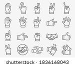 hands line icons set. black... | Shutterstock .eps vector #1836168043