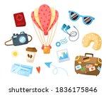 travel cartoon bundle   hot air ... | Shutterstock .eps vector #1836175846