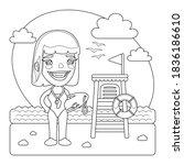 a cartoon smiling lifeguard on... | Shutterstock .eps vector #1836186610