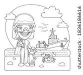 a cartoon smiling oceanologist... | Shutterstock .eps vector #1836186616