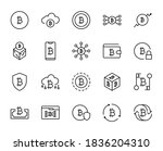line bitcoin icon set isolated...