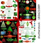 christmas decoration collection ...   Shutterstock . vector #183621089