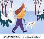 young woman in warm outerwear...   Shutterstock .eps vector #1836212320