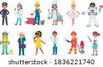 children in costumes of... | Shutterstock .eps vector #1836221740