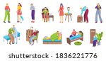 people with pain  unhappy sick... | Shutterstock .eps vector #1836221776