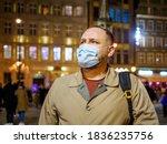 Adult Man Wearing Mask Walking...