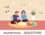 family playing board game at... | Shutterstock . vector #1836237400