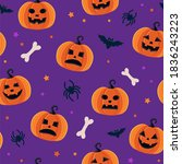 halloween pattern with... | Shutterstock . vector #1836243223