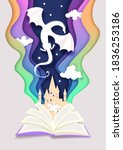 open story book with medieval... | Shutterstock .eps vector #1836253186
