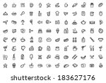 vector food icons set | Shutterstock .eps vector #183627176