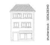 house sketch. vector... | Shutterstock .eps vector #183628340