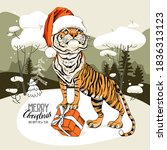 merry christmas and new year...   Shutterstock .eps vector #1836313123