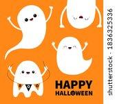 happy halloween. cute ghost set....   Shutterstock .eps vector #1836325336