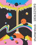 abstract psychedelic space... | Shutterstock .eps vector #1836325393
