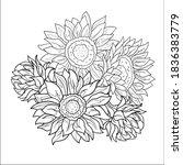 flowers  sunflowers. pattern.... | Shutterstock .eps vector #1836383779
