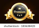 golden premium quality badge | Shutterstock .eps vector #183638420