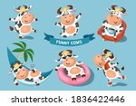 the cows are having fun on... | Shutterstock .eps vector #1836422446