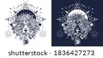 mystic lion head tattoo art.... | Shutterstock .eps vector #1836427273