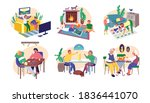 set of people playing board ...   Shutterstock .eps vector #1836441070