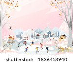 winter landscape at night with... | Shutterstock .eps vector #1836453940