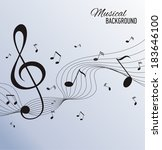 paper background with music... | Shutterstock .eps vector #183646100
