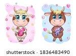cute cartoon cow  a bull with... | Shutterstock . vector #1836483490