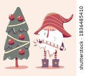 christmas dwarf with tree...   Shutterstock .eps vector #1836485410