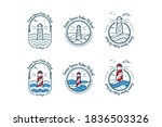 vector set lighthouse logo... | Shutterstock .eps vector #1836503326