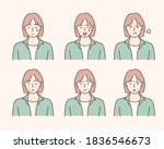 set of young woman's portraits...   Shutterstock .eps vector #1836546673