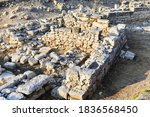 Small photo of Ruins of an ancient settlement. Archaeological excavations. Kalos Limen (ancient Greek Κᾰλός Λ�μήν) is an ancient Greek city in the north-west of Crimea. Restoration.