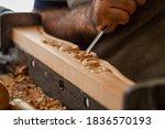 Carpenter Working On Wooden...