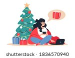 woman buys christmas gifts... | Shutterstock .eps vector #1836570940