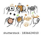 girl and man holding cup of...   Shutterstock .eps vector #1836624010