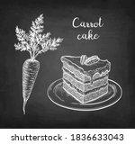 carrot cake. chalk sketch on... | Shutterstock .eps vector #1836633043