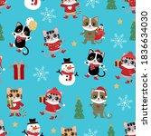 cute cat in winter costume... | Shutterstock .eps vector #1836634030
