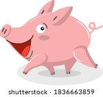 Cute Pig Is Running. Funny...