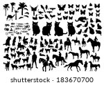 animals silhouette | Shutterstock .eps vector #183670700